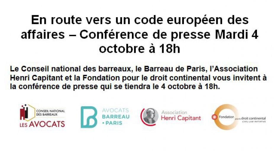 Conférence de presse – 04 octobre 2016 à 18h00 au Conseil National des Barreaux